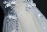 A Line Cap Sleeves Tulle Prom Dress, Floor Length Appliqued Evening Dress with Flowers N1174
