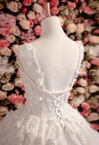 Vintage Princess Sleeveless Ball Gown Ivory Wedding Dress with Flowers and Beads,N353