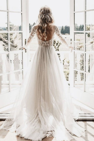 Chic A-line Long Sleeve Lace See Through Wedding Dresses Backless Country Wedding Dress N2525