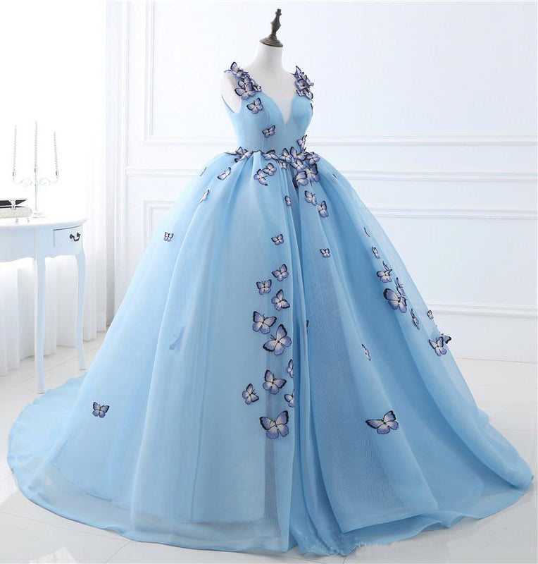 Sky Blue V-neck Butterfly Flowers Ball Gowns Long Prom Dress,Puffy Event Gowns N956