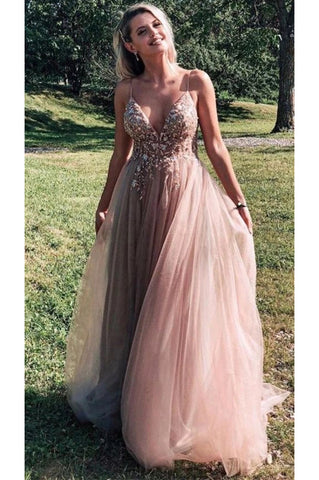 Spaghetti Straps Floor Length Tulle Prom Dresses, Charming Sleeveless Evening Dresses N2632