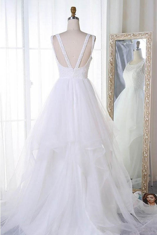 A Line Sleeveless Tulle Wedding Dress, Cheap Beach Wedding Dress, Bridal Dress N1010
