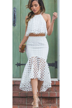 White Jewel Two Pieces Mermaid Sleeveless Hi-Lo Party Dress Homecoming Dress,N349