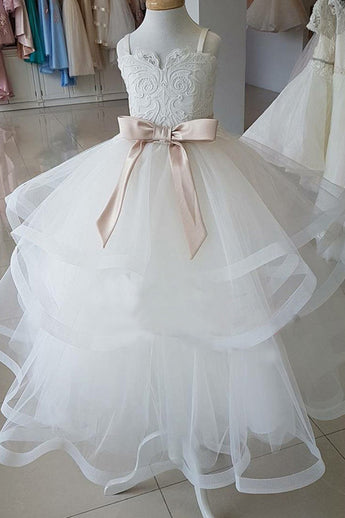 Straps Ivory Long Flower Girl Dress with Bow, Cute Flower Girl Dresses with Belt F046