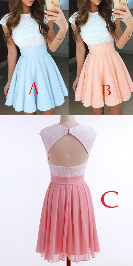 Pale Blue A-Line Cap Sleeves Short Chiffon Homecoming Dress with Lace Top,Mini Prom Dress,N239