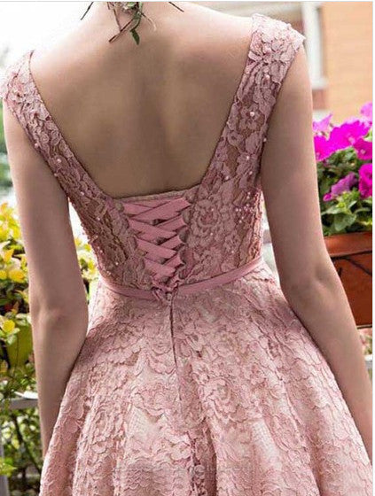 A-line Tea-length Pink Lace Homecoming Dress,Cute Graduation Dresses,Short Prom Dress,N213
