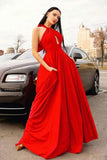 Stylish Red Halter Long Prom Dress, Floor Length Sleeveless Evening Dresses N2619