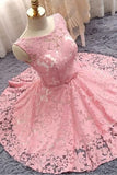 Light Plum Sleeveless Bateau Lace Homecoming Dress with Bowknot Belt,Short Grad Dress,N323
