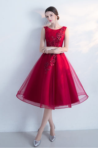 Sleeveless Cocktail Dress,A-line Tulle Short Prom Dresses,Wine Red Homecoming Dress,New Arrival Graduation Dresses,Fashion Dress With Flowers,N122