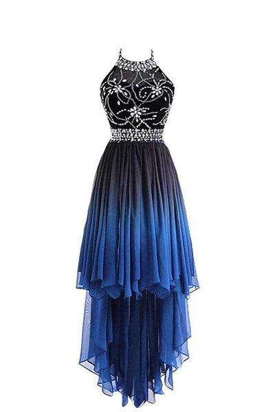 High Low Halter Sleeveless Chiffon Ombre Prom Dress, Beading Ombre Bridesmaid Dress N1353