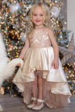 A Line High Low Sleeveless Satin Flower Girl Dress, Cute Hi Lo Round Neck Flower Girl Dresses F075