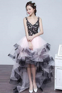 High Low Princess V Neck Homecoming Dresses, Puffy Tulle Prom Dress with Ruffles N1920