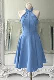 A Line High Neck Sleeveless Knee Length Homecoming Dress, Blue Prom Gown N839
