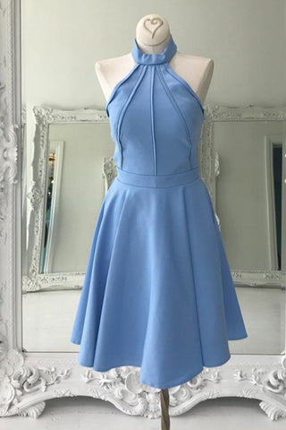 A Line High Neck Sleeveless Knee Length Homecoming Dress, Blue Prom Gown