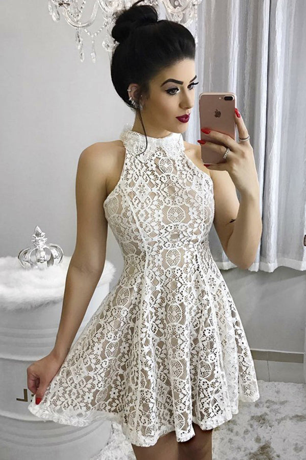 A Line High Neck Lace Homecoming Dress, Ivory Sleeveless Ruched Short Sweet 16 Dress N952