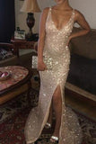 Sparkly Sequins Mermaid Prom Dress, V Neck Sleeveless Long Formal Dresses N1620