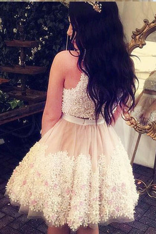 Two Pieces Tulle Appliques Sleeveless Homecoming Dresses,A-line Mini Party Dresses,N315