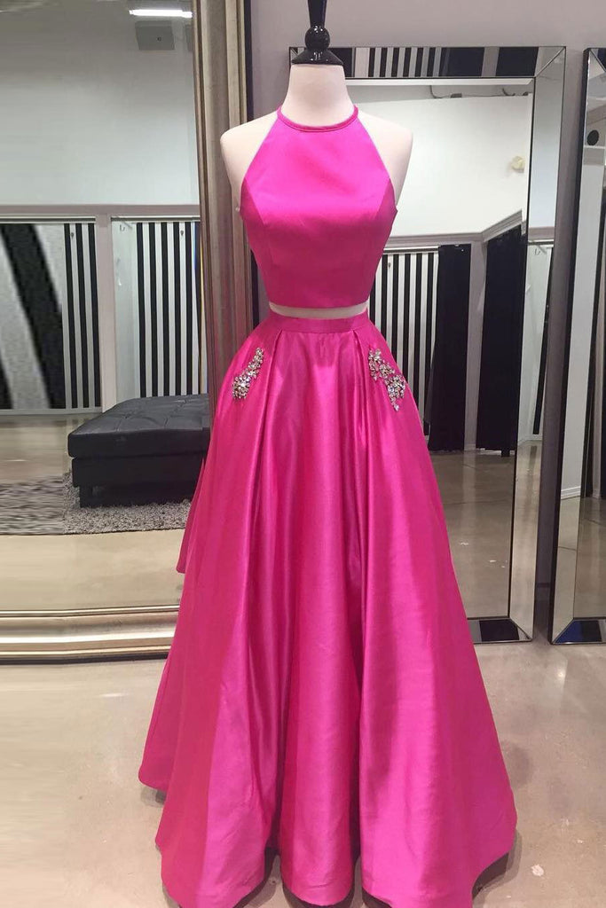 Hot Pink Halter Two Pieces Prom Dress with Pockets, Floor Length Formal Dresses