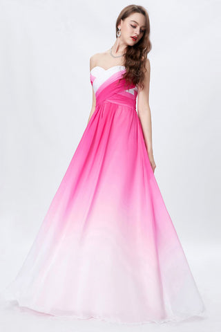 8e6f83a553e82 Hot Pink Ombre A-line Sweetheart Chiffon Floor Length Bridesmaid Dress –  Simibridaldress