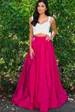 Fuchsia Two Piece Strap Prom Dress With White Top, Long Sexy Formal Dress with Bowknot
