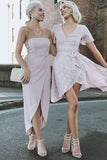 Simple Sheath Strapless Chiffon Short Bridesmaid Dresses with Pleats Under 100 N1239