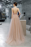 A Line Straps Sleeveless Prom Dress with Beading and Sequins, Long Evening Dress N2661