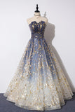 A Line Blue Tulle Strapless Long Prom Dress, Floor Length Graduation Dresses N2553