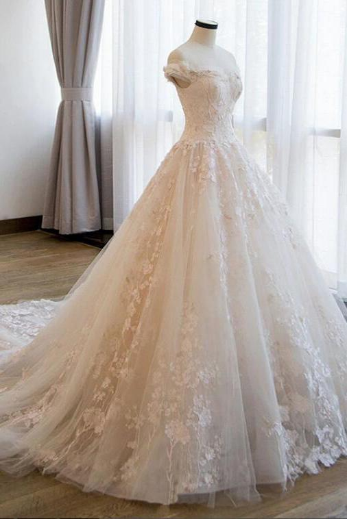 Ball Gown Off the Shoulder Lace Appliqued Wedding Dresses, Ivory Bridal Dresses N2586