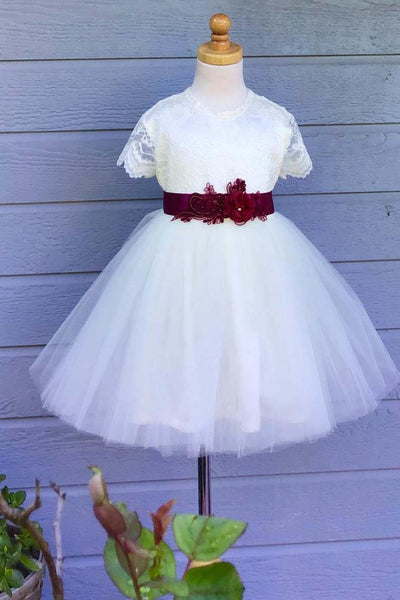 Lace Flower Girl Dress, Tulle Country Wedding Flower Girl Dress with Short Sleeves F054