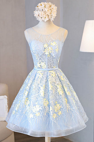 Appliqued A line Tulle Lace Short Prom dress,Sleeveless Homecoming Dresses with Belt,N294