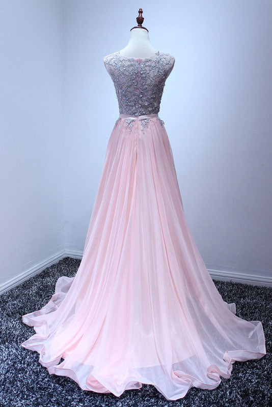 A Line Sleeveless Chiffon Long Appliqued Prom Dress, Pink Formal Dresses N1131