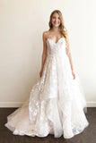 A-line Sweetheart Lace Appliqued Wedding Dresses Court Train Wedding Dress N2265