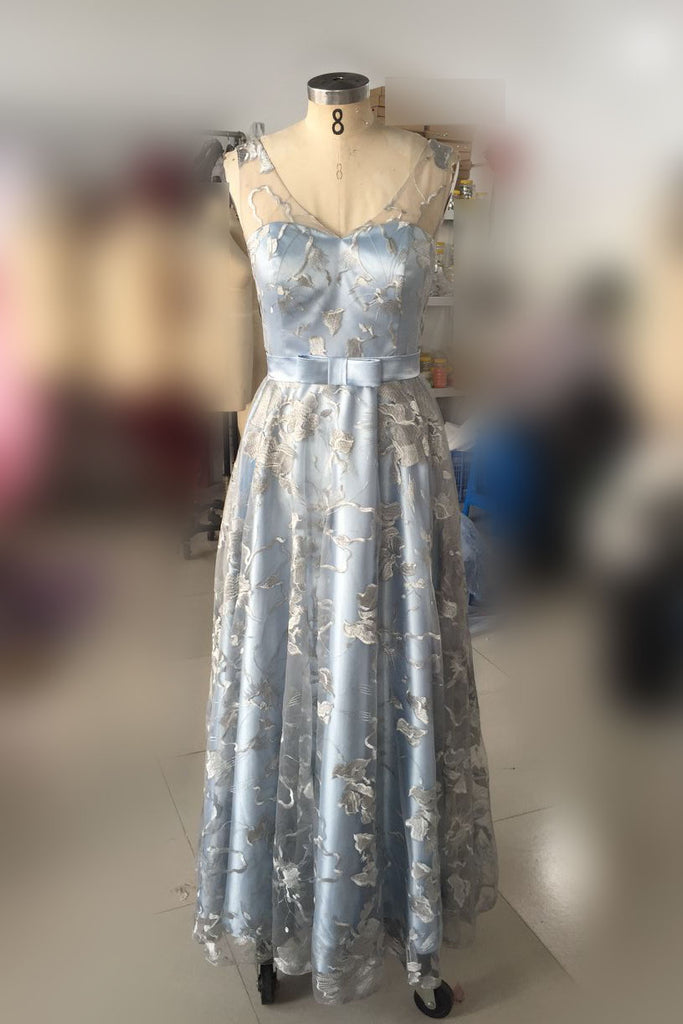 Light Blue Sleeveless Prom Dress with Lace, Lace Floor Length Evening Dresses