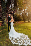 Botanical Sweetheart Wedding Dress with Long Train, Mermaid Bridal Dress with Lace N2556