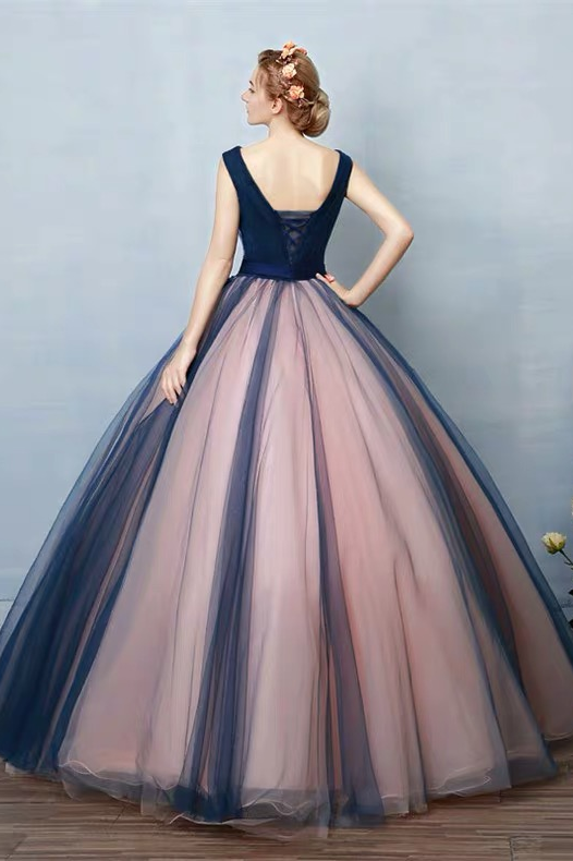 Unique Dark Blue V Neck Sleeveless Appliques Tulle Long Ball Gown Prom Dresses with Bowknot,N391