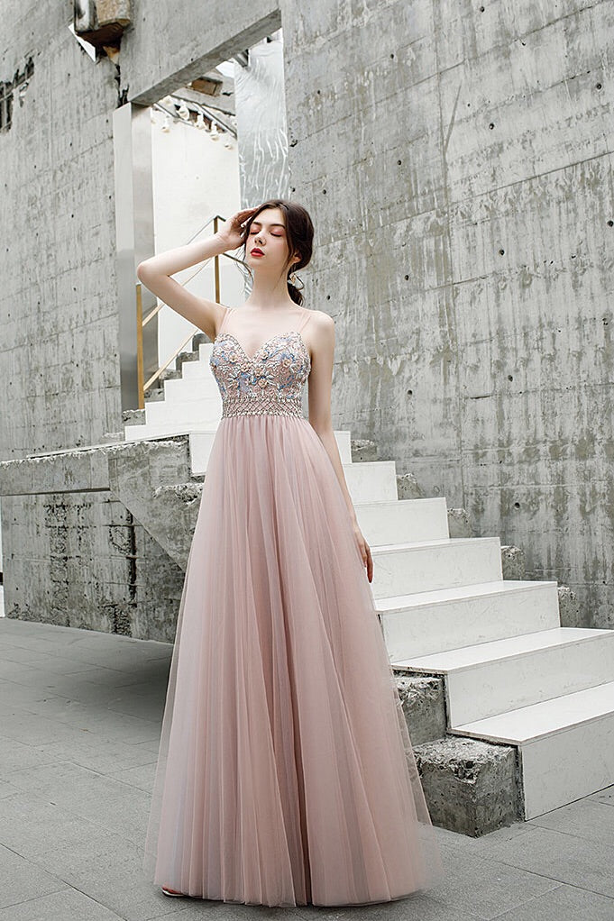 A Line Floor Length Spaghetti Straps Tulle Prom Dress with Beads N2658
