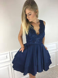 A-Line V-Neck Short Satin Homecoming Dress with Lace Top,Mini Sleeveless Party Dresses,N240