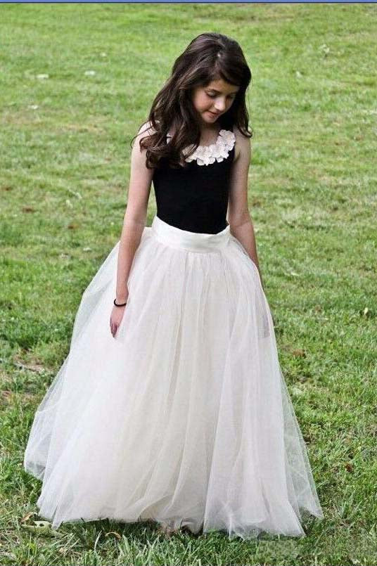 Two Piece Hot Sale Cheap Tulle Girl Skirt Ivory Tulle Long Flower Girl Dress with Black Top F051