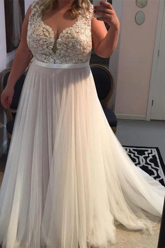 A Line Sleeveless Tulle Plus Size Prom Dress with Lace, Brush Train Tulle  Plus Size Dresses N2219