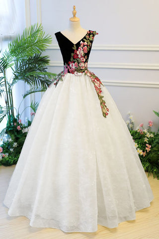 408cded71b0 Puffy V Neck Lace Prom Dress with Appliques