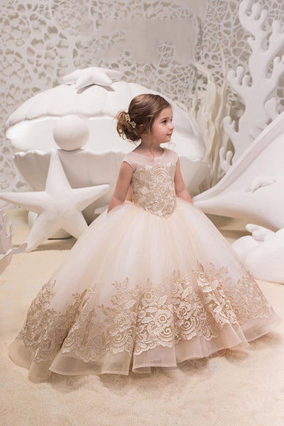 Ivory Ball Gown Tulle Flower Girl Dress with Lace, Backless Flower Girl Dress with Bow F047