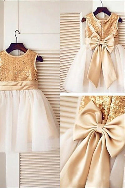 Golden Sequin Cute Tulle Flower Girl Dresses with Bow-knot on the Back F067