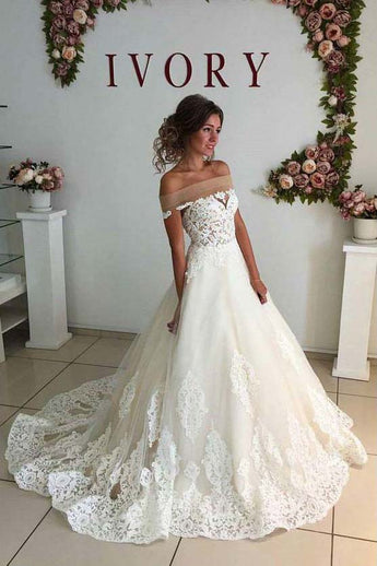 Sexy Ivory Off-Shoulder Sweep Train Wedding Dresses Lace applique Bridal Dresses,N654