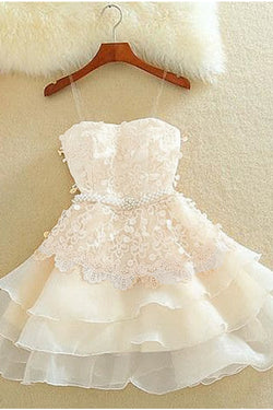 Ivory A Line Tulle Homecoming Dress, Applique Short Prom Dress with Beads