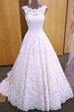 Elegant Lace Bridal Dress, White Long Backless Lace Wedding Dress