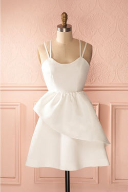 Simple Ivory Spaghetti Strap Satin Short Prom Dress, Cute Mini Homecoming Dresses