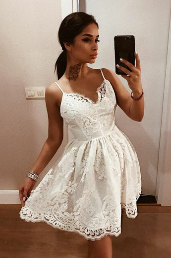 A-Line Spaghetti Straps Backless Ivory Lace Homecoming Dress with Appliques
