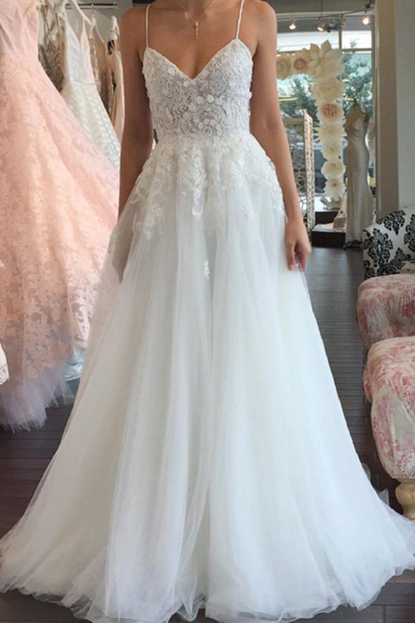 A Line Spaghetti Straps V Neck Floor Ivory Tulle Beach Wedding Dress with Appliques