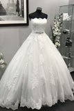 Ivory Strapless Lace Appliques Crystal Beaded Sash Tulle Wedding Dresses Ball Gowns