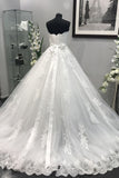 Ivory Strapless Lace Appliques Crystal Beaded Sash Tulle Wedding Dresses Ball Gowns N872